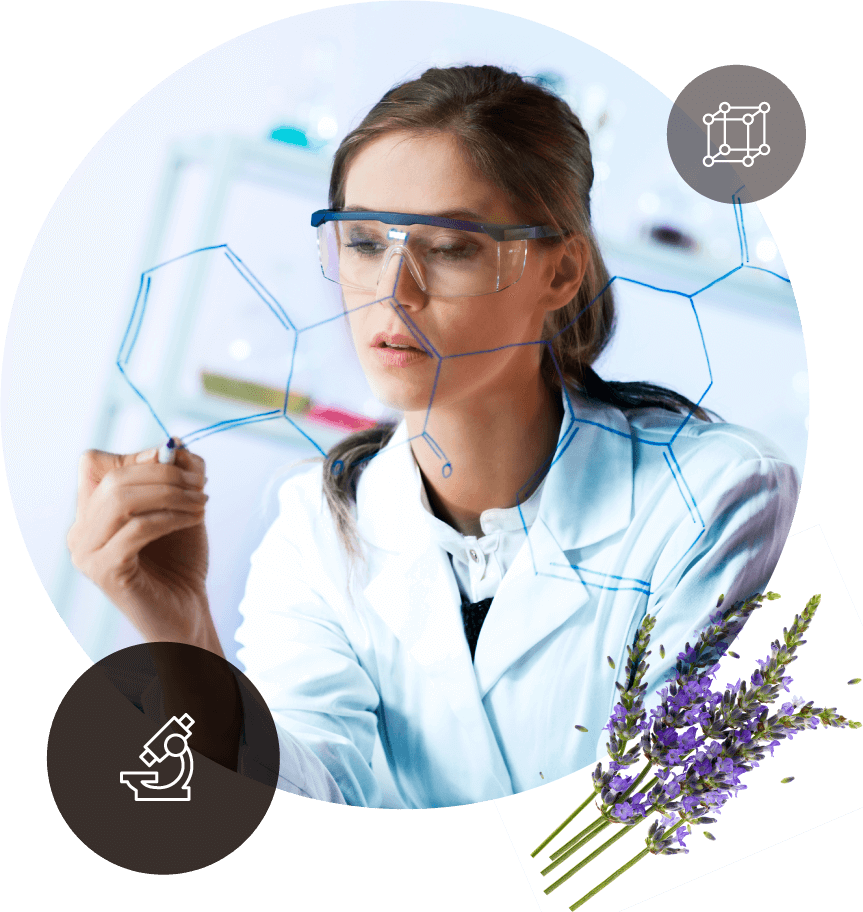 Scientist working with botanicals